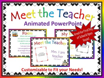 First Week of School - Meet the Teacher Animated PowerPoint