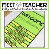 Flip Book Template EDITABLE Back to School Night Open House Meet the Teacher