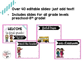 Meet the Teacher/ Back to School Night Editable PowerPoint- Pretty Pink