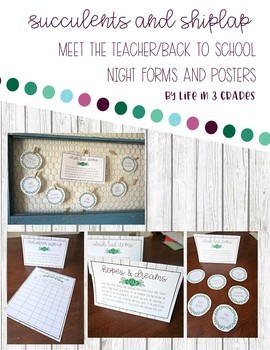 Meet the Teacher / Back to School Night Forms and Posters *Editable*