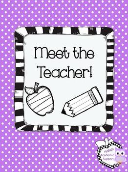 Meet the Teacher/Back to School/Open House Handout