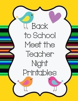 Meet the Teacher Back to School Printables