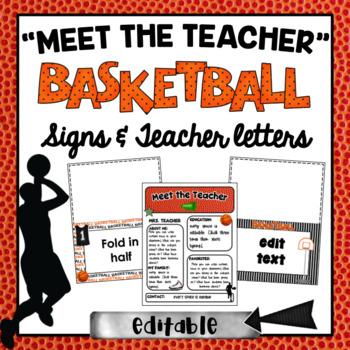 Meet the Teacher Station Signs ~ Basketball Theme ~Editable