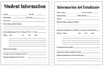 Meet the Teacher / Beginning of the Year Forms- Translated in Spanish