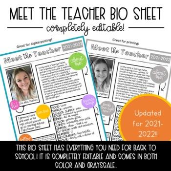 Meet the Teacher Bio Sheet