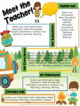 Meet the Teacher - CAMPING THEME - Editable Document - PPTX - ALL GRADES
