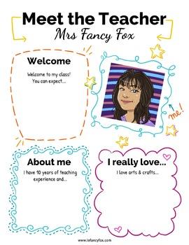 Meet the Teacher, Class List and Class Schedule Editable Templates in English