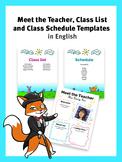 Meet the Teacher, Class List and Class Schedule Editable T
