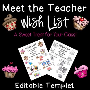 Meet the Teacher: Class Wish List Templet