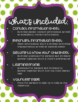Meet the Teacher Classroom Forms