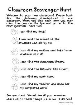 Scavenger Hunt List >> Meet the Teacher Classroom Scavenger Hunt by Greta Richey ...