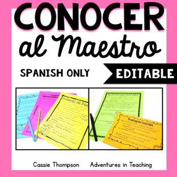 Meet the Teacher SPANISH (Conocer al Maestro- editable)