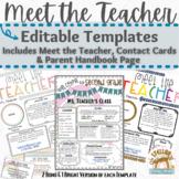 Meet the Teacher, Contact Cards and Parent Handbook Page Templates