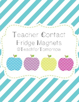 Meet the Teacher Contact Info Fridge Magnets (Chevron Apple)