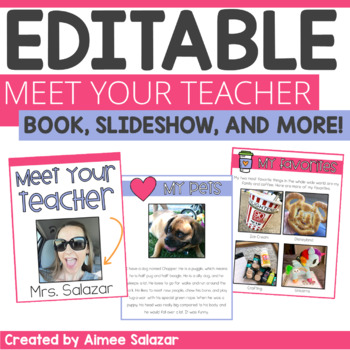 Meet the Teacher EDITABLE Book, Slideshow, Letter & Open House Presentation