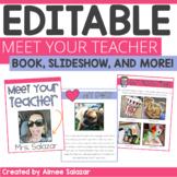 Meet the Teacher EDITABLE Book, Slideshow, Letter & Open House Presentation