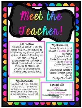 Meet the Teacher EDITABLE Document