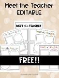 Meet the Teacher EDITABLE FREEBIE!