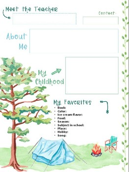 Meet the Teacher - EDITABLE FREEBIE - Camping Theme!