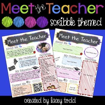 Meet the Teacher EDITABLE Flyer/Handout (Scribble Themed)