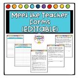 Meet the Teacher EDITABLE Forms for Stations