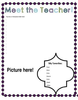 Meet the Teacher EDITABLE Printable Back to School Night Page!