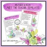 Meet the Teacher EDITABLE Templates: Watercolor Cactus