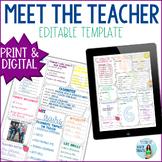 Meet the Teacher EDITABLE for Back to School Printable & Digital
