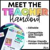 Meet the Teacher Handout