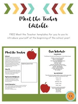 Meet the Teacher Editable