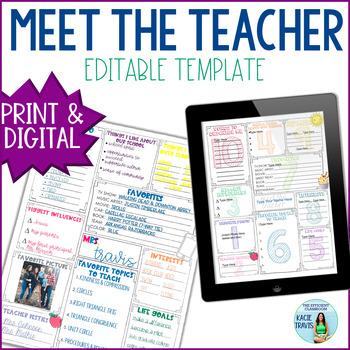 Meet the Teacher EDITABLE for Back to School