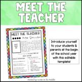 Meet the Teacher Template- Editable