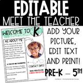 Meet the Teacher Editable Printable