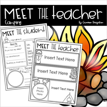 Meet the Teacher Editable Handout Back to School All About Me Camping Theme
