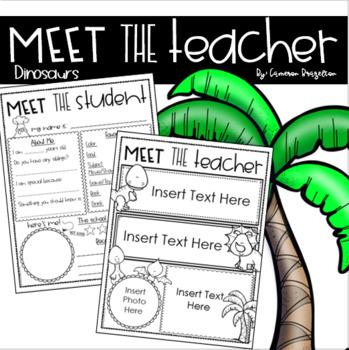 Meet the Teacher Editable Handout Back to School All About Me Dinosaur Theme