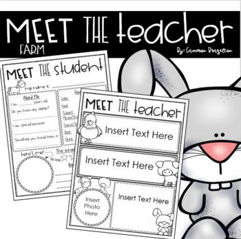 Meet the Teacher Editable Handout Back to School All About Me Farm Animals Theme