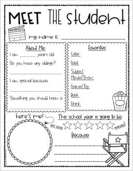Meet the Teacher Editable Handout Back to School All About Me Hollywood Theme