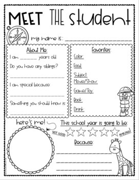 Meet the Teacher Editable Handout Back to School All About Me Jungle Safari