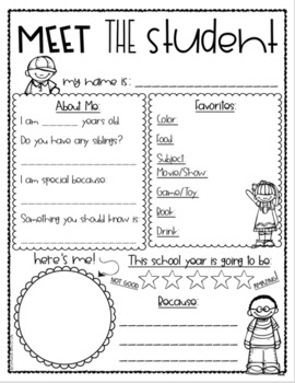 Meet the Teacher Editable Handout Back to School All About Me Kids Student Theme
