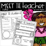 Meet the Teacher Editable Handout Back to School All About Me Tropical Luau