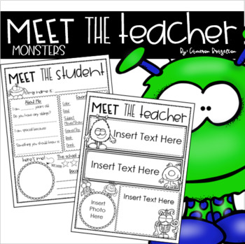 Meet the Teacher Editable Handout Back to School All About Me Monster Theme