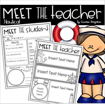 Meet the Teacher Editable Handout Back to School All About Me Nautical Sailing