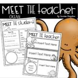 Meet the Teacher Editable Handout Back to School All About Me Ocean Theme