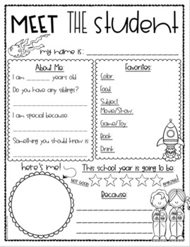 Meet the Teacher Editable Handout Back to School Open House Outer Space Theme