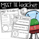 Meet the Teacher Editable Handout Back to School All About Me Outer Space Theme