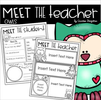 Meet the Teacher Editable Handout Back to School Open House Owl Theme
