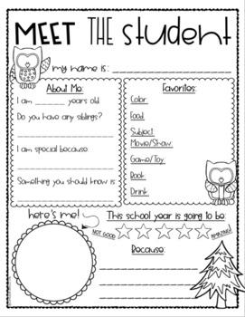 Meet the Teacher Editable Handout Back to School All About Me Owl Theme