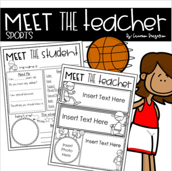 Meet the Teacher Editable Handout Back to School All About Me Sports Theme