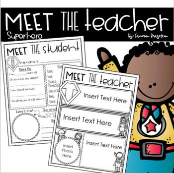 Meet the Teacher Editable Handout Back to School Open House Superhero Theme