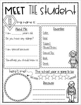 Meet the Teacher Editable Handout Back to School All About Me Superhero Theme